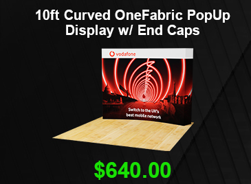 10ft Curved OneFabric PopUp Display w/ End Caps USD 640