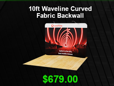 10ft Waveline Curved Fabric Backwall USD 679