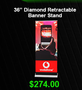"36"" Diamond Retractable Banner Stand USD 274"