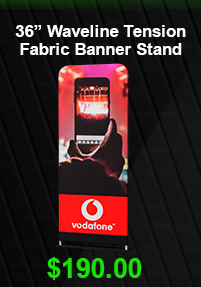 "36"" Waveline Tension Fabric Banner Stand USD 190"